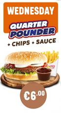 Wednesday 1/4 Pounder Burger + Chips and Any Sauce  Special
