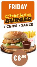 Friday Chicken Burger & Chips + Any Sauce Special